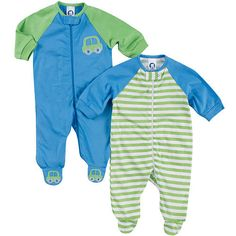Gerber Boys 2 Pack Raglan Sleeve Footies - Blue with Car Embroidery and  Green Stripes Boys 66865f4ac