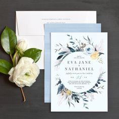 Wild wreath wedding invitations in soft blue