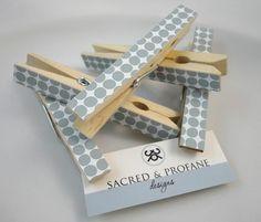 Grey Dotted Wooden Clothespins  Set of Five por SacredandProfane