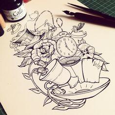 Alice In Wonderland Tattoo Art Drawings Sketches, Disney Drawings, Tattoo Drawings, Body Art Tattoos, Sleeve Tattoos, Tatoos, Disney Tattoos, Alice And Wonderland Tattoos, Wonderland Alice