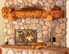 Half Log Mantels | Character mantel with hand-notched log supports that cradle the
