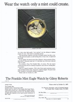 Franklin Mint Eagle Watch by Gilroy Roberts 1987 Ad