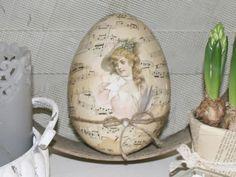 Ostereier - XL Vintage Osterei -Madame N- - ein Designerstück von basket-and-pillow bei DaWanda