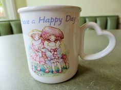 Vintage Mug Holly Hobbie Kitten and Yarn Ceramic by BettyAndDot, $9.50