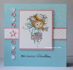 blog.karten-kunst.de - Wee Stamps Flower Fairies, Karten-Kunst Kombi Set Wünsche, Hintergrundprägeschablone Swiss Dots