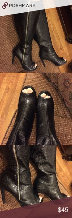 Paper Fox Black Snake Print Knee High Heeled Boots Worn only once * No marks * Like New * Suede heels 4.5 inches high * Side zippers * Snake patterned * Synthetic leather * 14 inch circumference measured at the very top * In original box* No trades * Paper Fox Shoes Heeled Boots