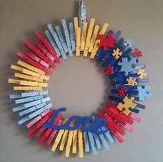 Hey, I found this really awesome Etsy listing at https://www.etsy.com/listing/230715122/autism-awareness-love-wreath