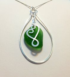 Green Sea Glass Necklace on Sterling Silver Heart by SeaglassReinvented