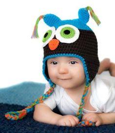 (4-12 Months) My Little Legs Turquoise & Brown Crochet Owl Hat My Little Legs. $15.00