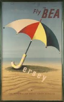 Fly BEA Jersey tourism advertising poster beach umbrella - Abram Games - Wikipedia, the free encyclopedia Tourism Poster, Poster Ads, Advertising Poster, Diesel Punk, Vintage Beach Posters, Abram Games, British European Airways, Jersey Channel Islands, Earth Day Posters