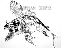 Angler fish skeleton made of various creatures.