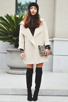 outfit overknees boots white coat black & white outfit