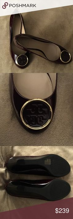 %Tory Burch Twiggie wedge Shoe NWT original box with Tory Burch tissue paper Gorgeous port color shoe. Wedge heel 65mm Tory Burch Shoes Wedges