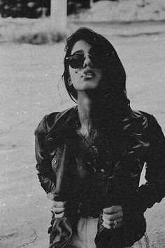 love pretty hair girl Black and White life tumblr Cool photo smoke Awesome vintage old curls sunglasses Leather cigarette jacket