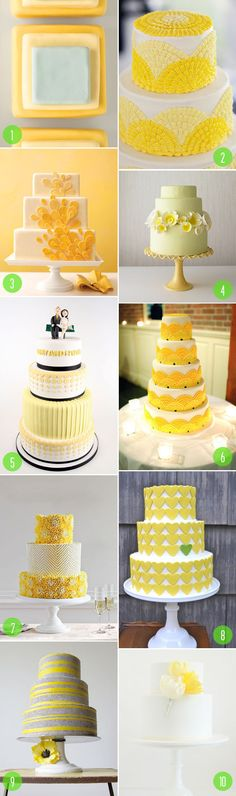 top 10: yellow wedding cakes something like no. 7 but in navy and gold perhaps....