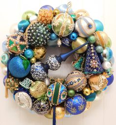 Christmas Ornament Wreath with Vintage, Mid Century Tree Topper, Shiny Brite and Sequin, Beaded Ornaments in Blue, Green, Gold, White