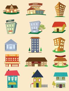 Houses and buildings elements set vector