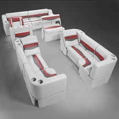 Boat Names Discover Pontoon Boat Seats Gray Red & Charcoal Pontoon Boat Furniture Make A Boat, Build Your Own Boat, Pontoon Boat Furniture, Pontoon Boat Seats, Pontoon Boating, Boat Kits, Boat Design, Small Boats, Back Seat