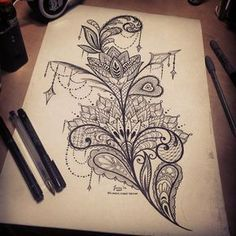 feminine mandala lace tattoo design idea, thigh tattoo. pretty patterns with mendi lotus flower by Dzeraldas Jerry Kudrevicius, Atlantic coast tattoo in Newquay Cornwall