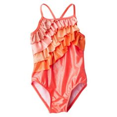 Cherokee® Infant Toddler Girls 1-Piece Ruffled Swimsuit I can't stop pinning baby girl swimsuits OMG I'm in love!
