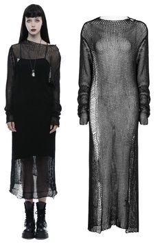 Nightmare Knitted Black Gothic Dress by Punk Rave