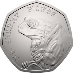 This is the first UK coin to feature Jeremy Fisher in his famous waterproof mackintosh coat. It was issued as part of the second series of Beatrix Potter Beatrix Potter, Rare British Coins, Rare Coins, Rare 50p Coins Value, Mint Coins, Gold Coins, English Coins, Fifty Pence Coins, Coin Dealers