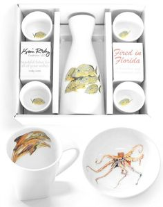 Sake Sets, Mugs, Dishes and Dippers by Kim Rody: http://www.completely-coastal.com/2015/12/home-decor-gift-ideas-coastal-beach-style.html