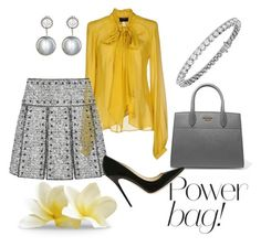 """Gray and Yellow Contest"" by arta13 on Polyvore featuring John Richmond, Valentino, Prada, Jimmy Choo, Samira 13 and Blue Nile"