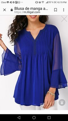 7abfee36beb2fd Love the beautiful deep blue color of this blouse! The Split Neck Pleated  Layered Bell Sleeve Blouse is perfect for the office, or going out to  dinner, ...