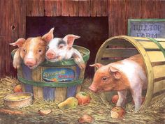 """Three Pigs -  500 Pieces! Finished size 18"""" X 24"""". Artist Lorraine Ryan.        Sunsout puzzles are 100% made in the USA      Eco-friendly soy-based inks      Recycled boards      Not sold in mass-market stores"""