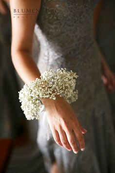 Garden Flowers - Annuals Or Perennials Baby's Breath Wrist Corsage - Gorgeous Corsage Wedding, Bridesmaid Bouquet, Wedding Bouquets, Wrist Flowers, Flowers In Hair, Rose Wedding, Floral Wedding, Fall Wedding, White Corsage