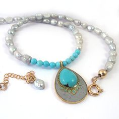 OOAK pearls and turquoise Necklace Beaded by @SigalitAlcalai, $89.00