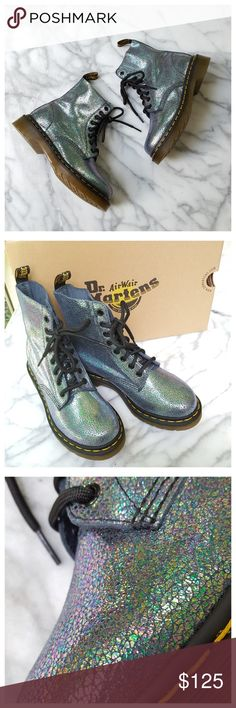 "Dr. Martens Pascal TP Split Boot Classic Pascal 8-eyelet styling in iridescent split leather. Super soft leather upper, cushioned footbed, Airwair air-cushioned outsole. Heel 1.5"", shaft 6.5"", length approx 9.5"", width approx 3.5"". UK4/US6. New in box. Dr. Martens Shoes Lace Up Boots"