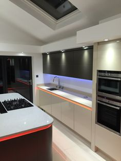 Love the use of our strip light in this kitchen - fabulous! Kitchen Cabinets, Kitchen Appliances, Led Strip, Strip Lighting, Lights, Home Decor, Products, Kitchen Cupboards, Diy Kitchen Appliances