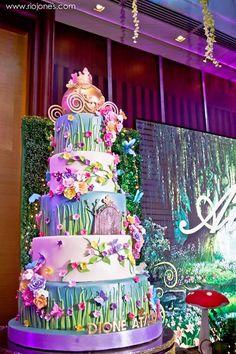Fairy garden cake from an Enchanted Garden Princess Birthday Party on Kara's Party Ideas | KarasPartyIdeas.com (30)