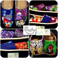 Disney Villains #1 **All Around** Hand Painted Toms/Vans Ursula, Captain Hook, Evil Queen, Hades, Scar, Cruella DeVil, Yzma, Maleficent