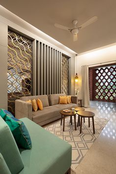 A modern bungalow using concrete, exposed brick design is designed and construced by KN Associates. Contemporary style architecture with use of kota stone. room designs indian Sky's the Limit for This Brick-and-concrete Bungalow Interior Design Blogs, Indian Interior Design, Interior Decorating, Living Room Partition Design, Room Partition Designs, Living Room Sofa Design, Home Room Design, Drawing Room Interior, House Paint Interior