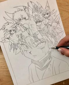 Anime Art by Incredible Anime Artists: Welcome to Anime Ignite Anime Drawings Sketches, Cool Art Drawings, Amazing Drawings, Manga Drawing, Hunter X Hunter, Hunter Anime, Killua, Dragon Anatomy, Doodle Paint