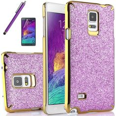 Amazon.com: Samsung Galaxy Note 4 case, ULAK Fashion Luxury Colorful Glitter Snap-On Case for Samsung Galaxy Note 4 with Screen Protector and Stylus (Rosered+Gold Frame): Cell Phones & Accessories