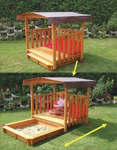 Cute backyard children's gazebo with sand pit
