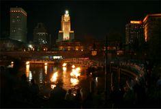 WaterFire in Providence, Rhode Island.
