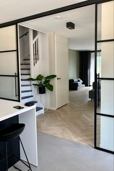Home Stairs Design, Door Design Interior, Home Room Design, House Design, Best Living Room Design, Home Living Room, Living Room Designs, Industrial Home Design, Sliding Door Design