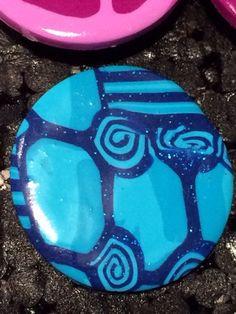 Bague en Fimo pâte polymère Ronde abstrait bleu 3 cm : Bague par ys-creations