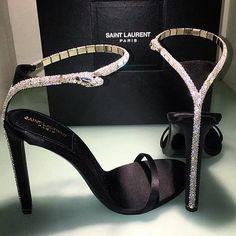 Saint Laurent High Heels with Diamond Snake - Stiletto Shoes High Heels Stiletto, Ysl Heels, Shoes Heels, Stilettos, Ysl Sandals, Silver Sandals, Sandal Heels, Pumps, Cute Shoes