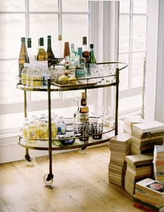 Wet Bar - keep all the bottles clustered together, glasses clustered together, etc.