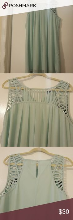 Light teal/baby blue dress Super cute, sheer, sleeveless dress. The slip is also light teal/baby blueWorn once! You can wear it to a wedding, baby shower or out on a date. I'm 5'6 and it hits just below my knees. The back has a 1 button closure. Get her before someone else does!!! Reasonable offers welcomed!!! Paperdoll Dresses Midi