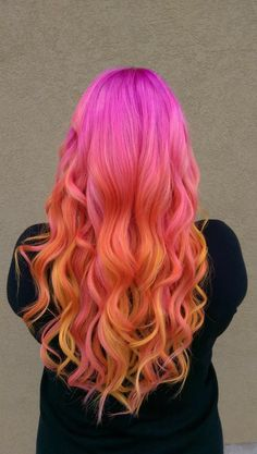 Summer Hair Sunset Hair # Pink Hair Orange Hair Yellow Hair Pravana Neon Hair Pravana Neons