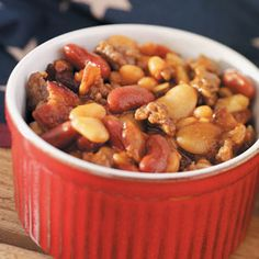 Family-Favorite Baked Beans Recipe- Recipes  Lea Ann Anderson TULSA, OKLAHOMA  Here's a quick and easy recipe familiar to most at reunions and other large gatherings. The sweet and hearty dish includes three kinds of beans and plenty of beef and bacon.