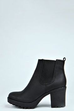 These Tia Chunky Cleated Heel Chelsea Boots are AMAZING! Check them out at boohoo.com