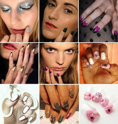 creative nail art via styleblazer. i like the outline (bottom left) and the ombre (top, middle)